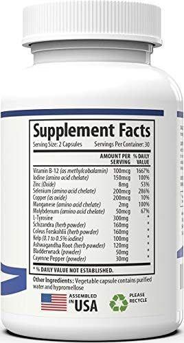 Thyroid Support Supplementwith Iodine- Energy & Focus Formula - Vegetarian& Non-GMO- Vitamin B12 Complex, Zinc, Selenium, Ashwagandha, Copper, Coleus Forskohlii & More 30 Day Supply
