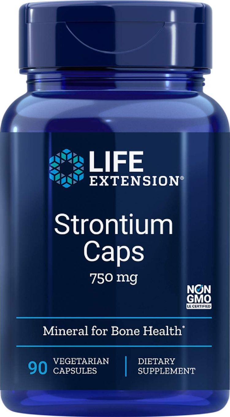 Life Extension Strontium Caps 750 mg Bone Health Support Supplement – Non-GMO, Gluten-Free – 90 Vegetarian Capsules