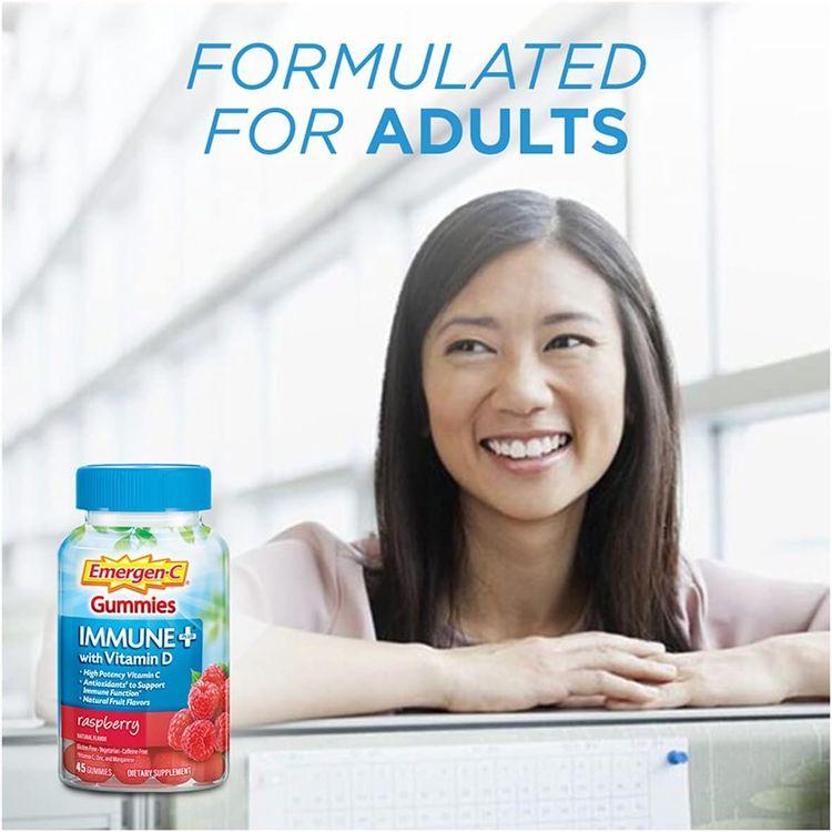 Emergen-C Immune+ Immune Gummies, Vitamin D plus 750 mg Vitamin C, Immune Support Dietary Supplement, Caffeine Free, Gluten Free, Raspberry Flavor - 45 Count
