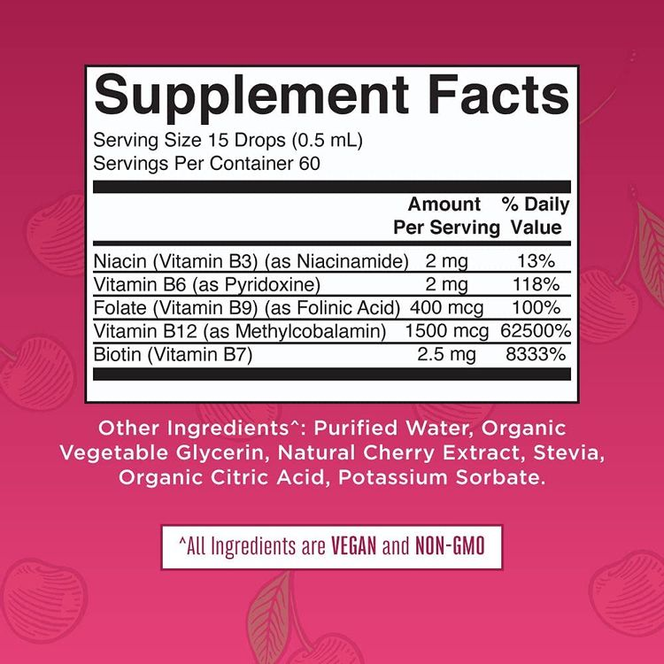 Vegan Vitamin B Complex Liquid by MaryRuth's   Hair Skin Nails Energy   Methyl B12 Folate Biotin Niacin Vitamin B3, 6, 7, 9, 12   Tart Cherry Vitamin B Complex Supplement   1 Fl Oz