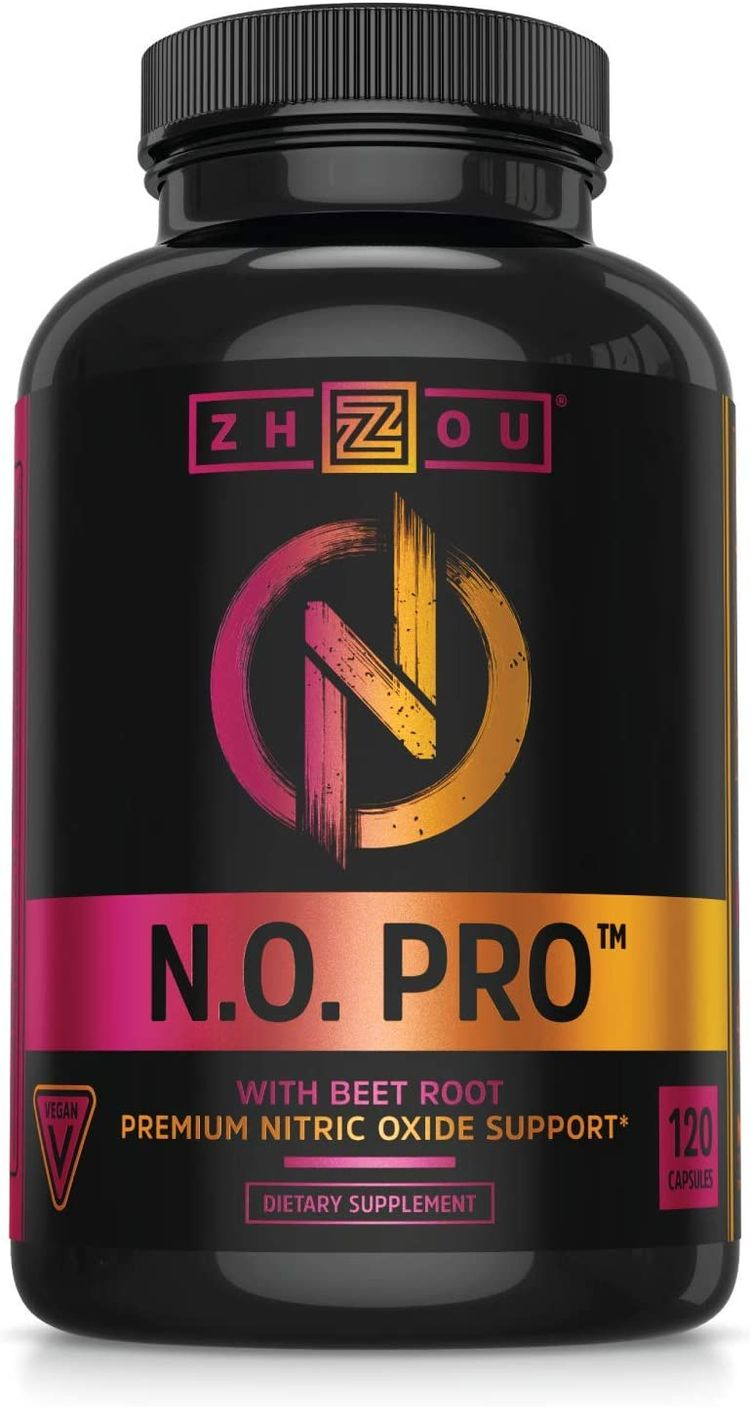Zhou Nitric Oxide with L Arginine, Citrulline Malate, AAKG and Beet Root   Powerful N.O. Booster and Muscle Builder for Strength, Blood Flow and Endurance   30 Servings, 120 Veggie Caps