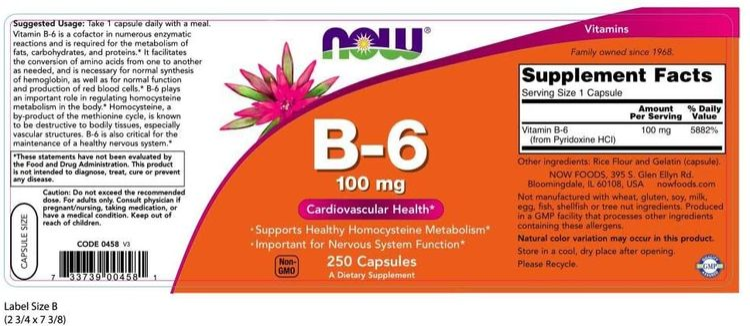 NOW Vitamin B-6 100mg,250 Capsules (Pack of 2)