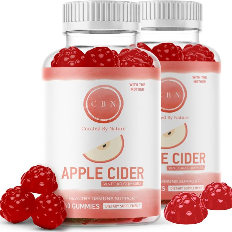 (2-Pack) Nutritional Apple Cider Vinegar Gummies, Immunity Boosting Formula with The Mother - Healthy, Tasty Gummy Bears (120 Included) Made with Natural Ingredients, Acetic Acid, Great Tasting