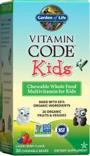 Garden of Life Vegetarian Multivitamin Supplement for Kids - Vitamin Code Kids Chewable Raw Whole Food Vitamin with Probiotics, 30 Chewable Bears - Packaging May Vary
