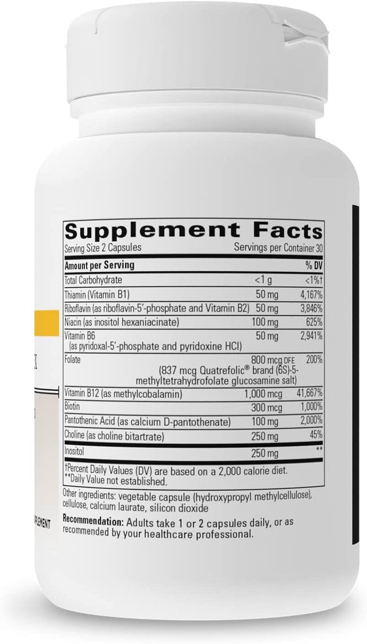 Integrative Therapeutics - Active B-Complex with Folate and Vitamins B1, B2, B3, B5, B6, B7, B12, and Choline Bitartrate for Energy Production - Vegan Formula – 60 Capsules