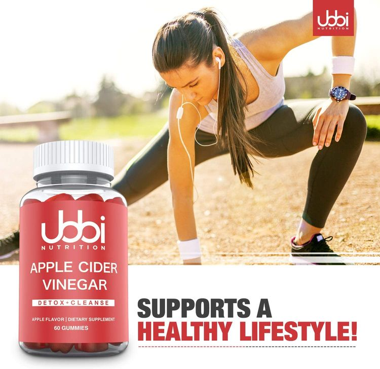 Ubbi Nutrition Apple Cider Vinegar Gummies with The Mother - Detox and Weight Loss Support, Vegetarian, Vitamin B6 & B12, Pomegranate, Beetroot ACV - Energy Boost, Digestion & Gut Health