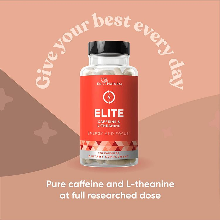 Elite Caffeine with L-Theanine – Jitter-Free Focused Energy Pills – Natural Nootropic Stack for Smart Cognitive Performance – 120 Soft Capsules