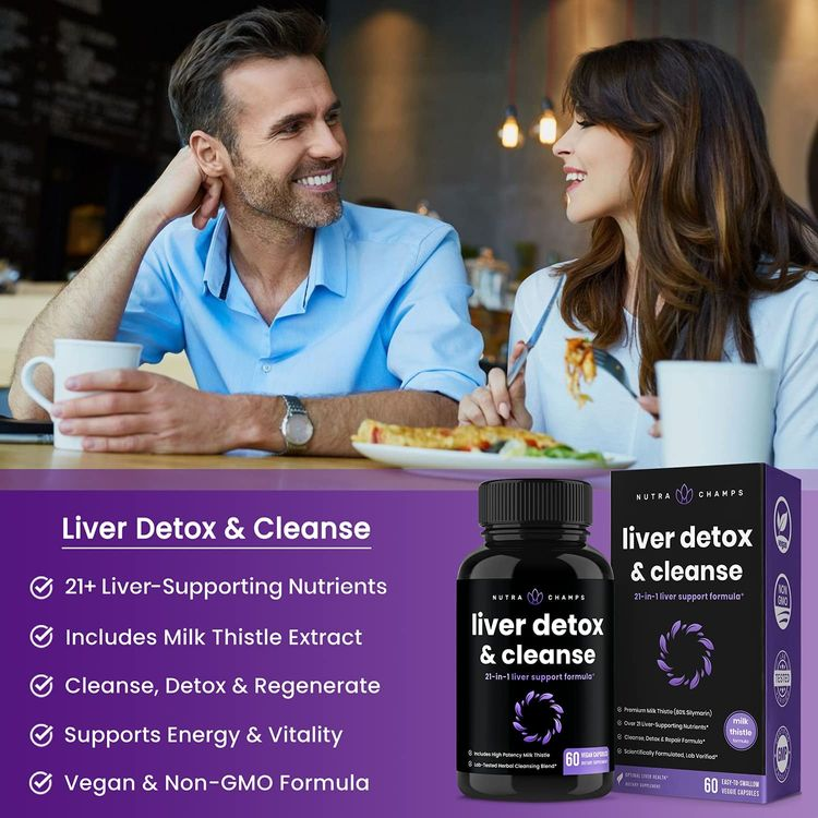 Liver Cleanse Detox & Repair Formula | 25+ Herbs: Milk Thistle Extract with Silymarin, Artichoke, Dandelion, Chicory Root Powder & More! | Premium Liver Support Pills Supplement, 60 Capsules