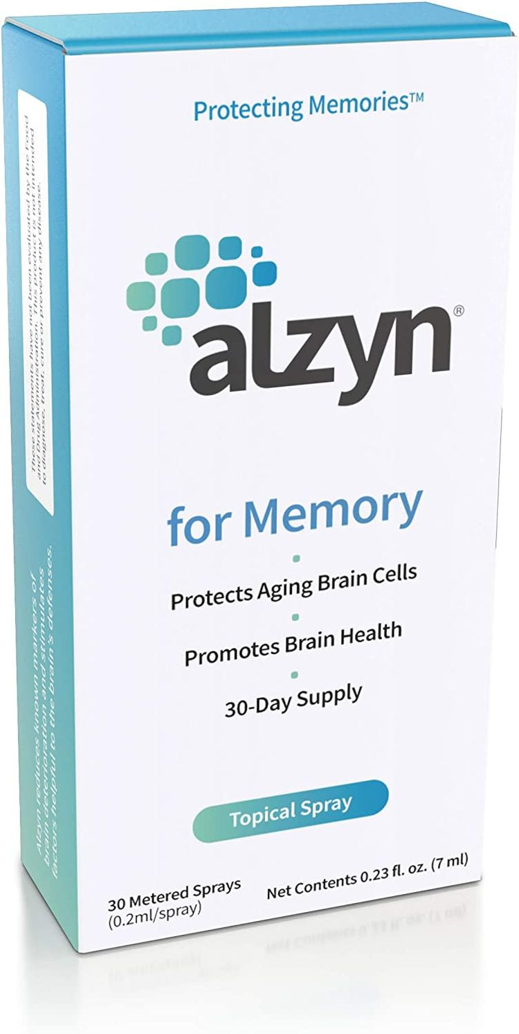 Alzyn for Brain Health - Topical Spray to Enhance Focus, Boost Concentration, Improve Memory & Clarity and Slow Cognitive Decline - 1 Month Supply