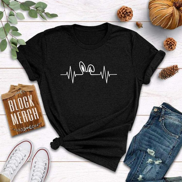 Women T-Shirt Heartbeat Print Casual Print Short Sleeve Travel Graphic Tees Hiking Athletic Tops
