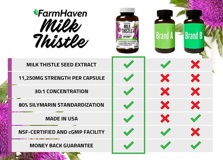 FarmHaven Milk Thistle Capsules   11250mg Strength   30X Concentrated Seed Extract & 80% Silymarin Standardized - Supports Liver Function and Overall Health   Non-GMO   120 Veggie Capsules