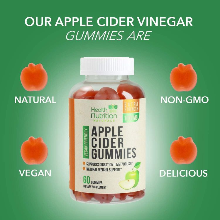 Apple Cider Vinegar Gummies for Weight Support and Cleanse 1000mg - Delicious ACV Gummy Vitamins with The Mother - Folic Acid, Beet Juice, Pomegranate - Non-GMO - 60 Gummies