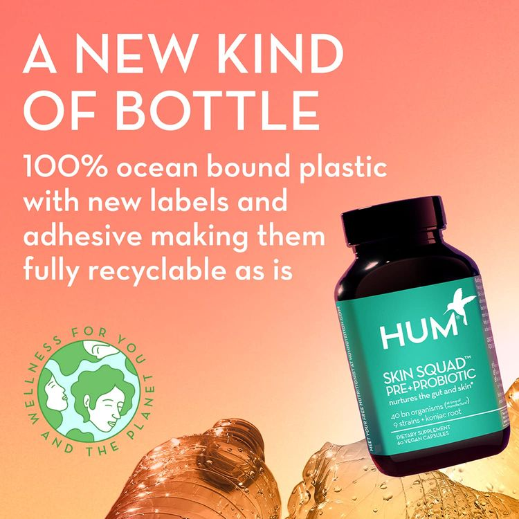 HUM Daily Cleanse Skin Supplement - Clear Skin with Organic Algae, 14 Herbs, Vitamins & Minerals to Soothe and Balance Skin, Supports Improved Digestion (60 Vegan Capsules)