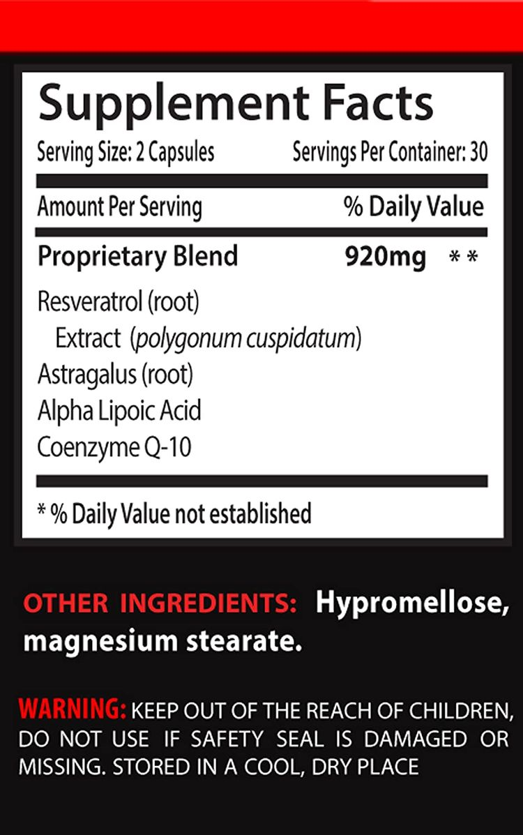 Top Resveratrol Plus Q10 - to Support Longevity and Boost Energy (6 Bottles 360 Capsules)