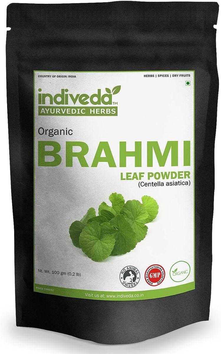 Indiveda Organic Brahmi (Centella asiatica) Powder for Support Healthy Brain, 100 Grams*