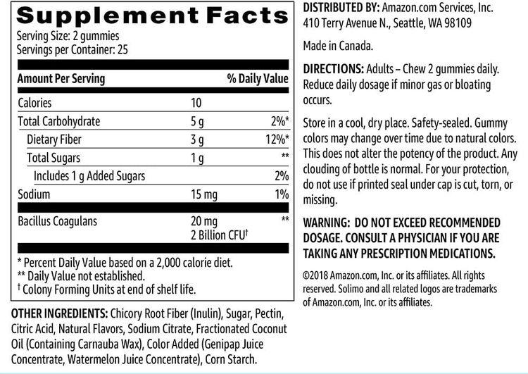 Brand - Solimo Prebiotic & Probiotic 2 Billion CFU, 50 Gummies (2 Gummies per Serving)