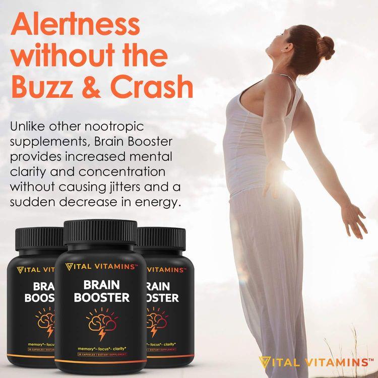 Brain Supplement Nootropics Booster - Enhance Focus, Boost Concentration, Improve Memory & Clarity for Men & Women, Ginkgo Biloba, Dmae, Mind Enhancement, Iq Neuro Energy, Vitamin B12 Bacopa Monnieri