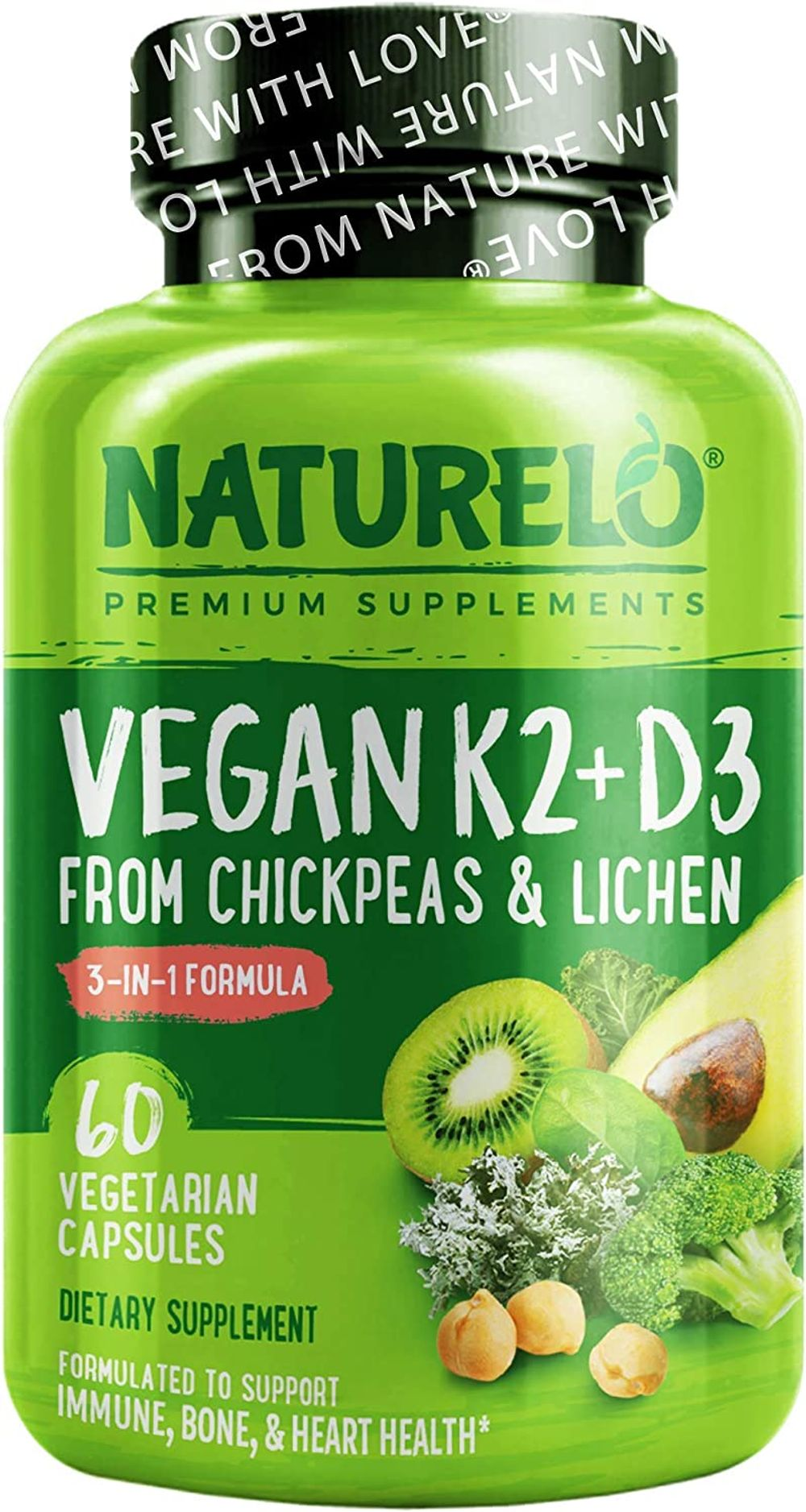 NATURELO Vegan K2+D3 - Plant Based D3 from Lichen - Natural D3 Supplement for Immune System, Bone Support, Joint Health - Whole Food - Vegan - Non-GMO - Gluten Free - 60 Capsules