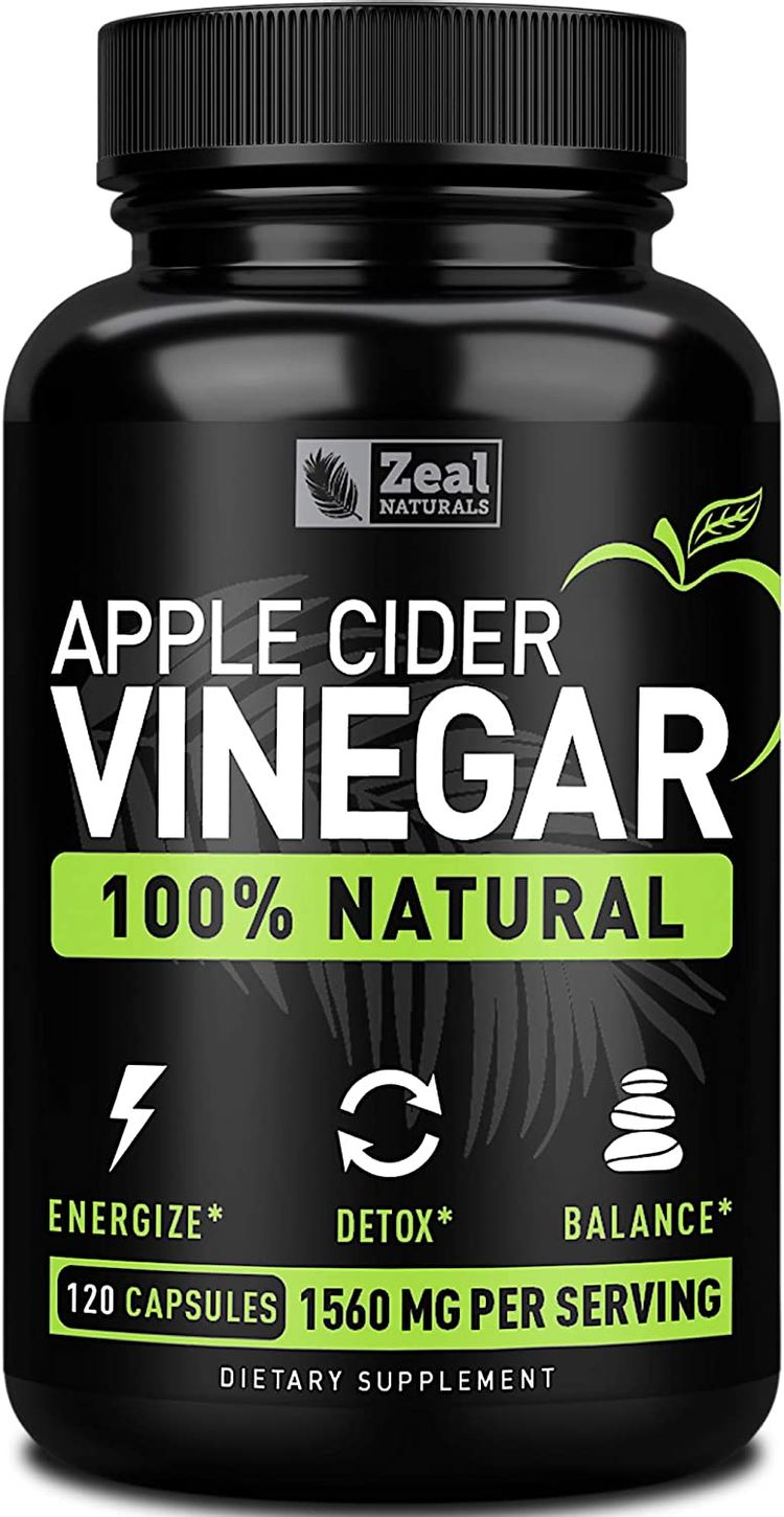 Zeal Naturals Natural Raw Apple Cider Vinegar Capsules (1560mg|120 Capsules) Apple Cider Vinegar Pills w Cayenne Pepper, Fast Weight Loss Cleanse Appetite Suppressant & Bloating Relief
