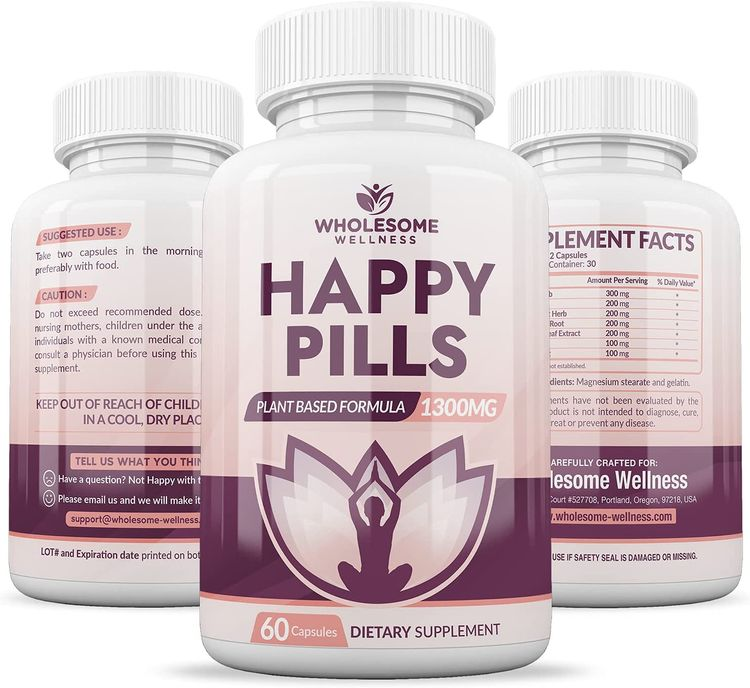 Happy Pills Natural Anti Anxiety Relief & Depression Supplement   Dopamine Mood Boost, Serotonin Support, Relieve Stress, Calm Relaxation Enhancer, Best PMS Supplements, for Women & Men   60 Capsules