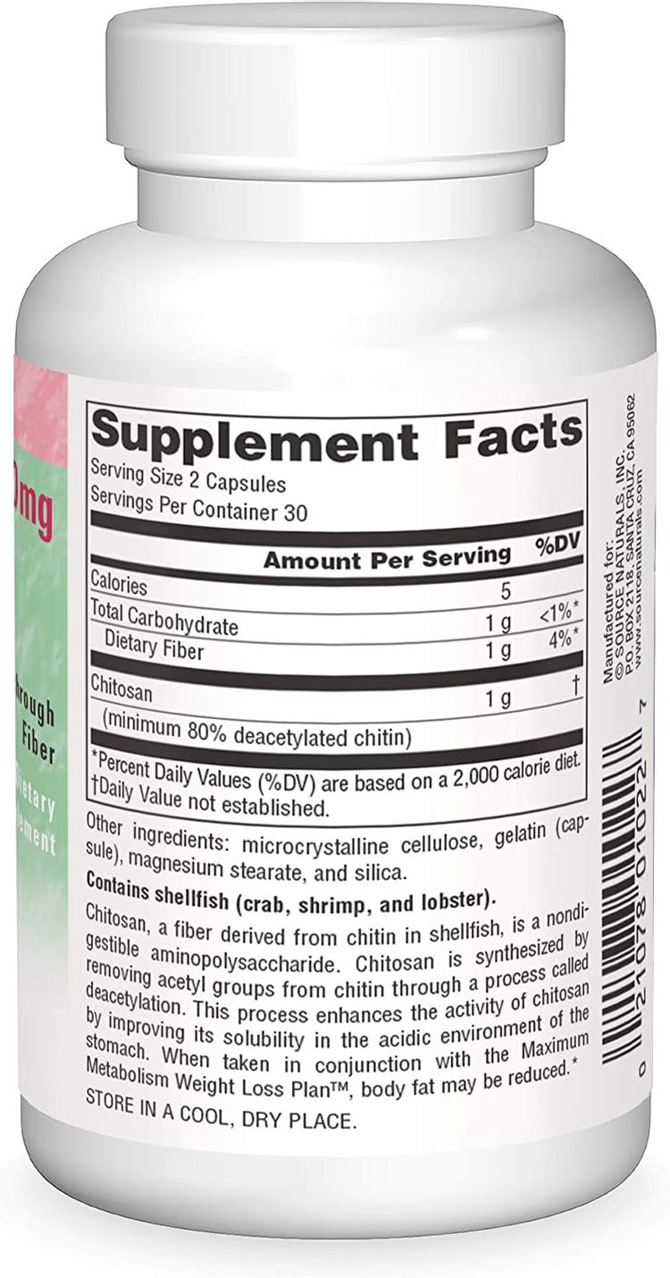 Source Naturals Diet Chitosan 500 Mg, 60 Capsules