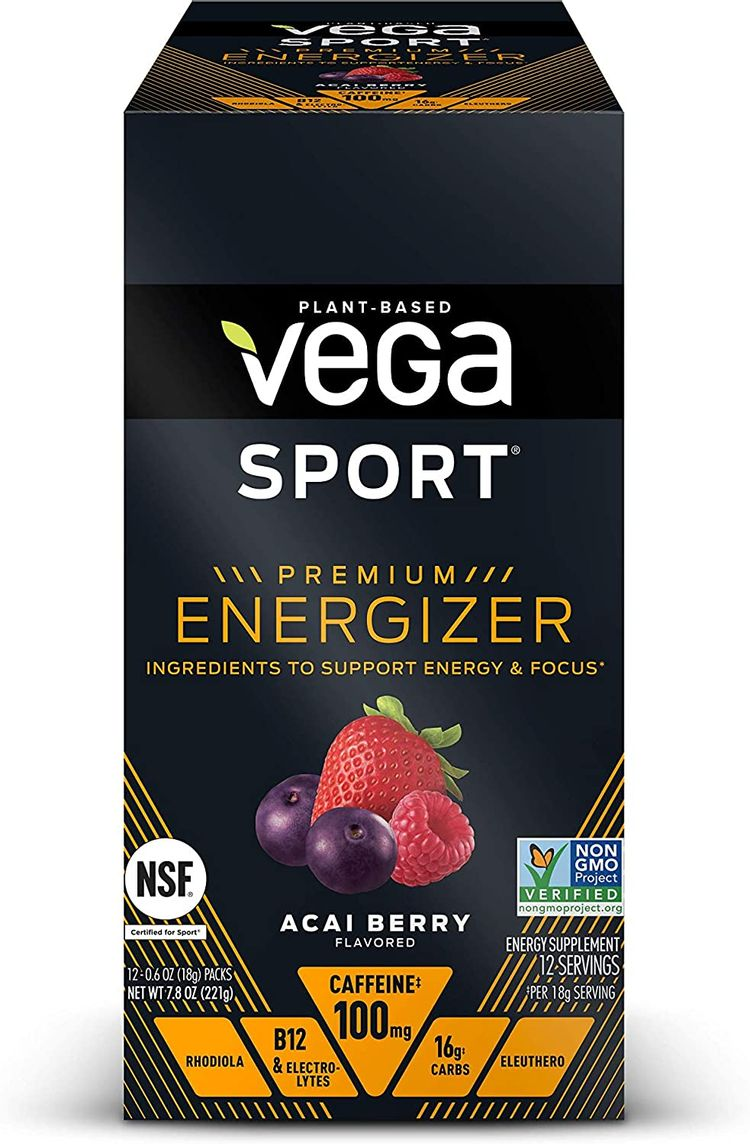 Vega Sport Premium Energizer, Acai Berry Pre-Workout Energy Drink - Certified Vegan, Vegetarian, Gluten Free, Dairy Free, Soy Free, Non GMO, Natural Pre Workout Powder (12 Count)