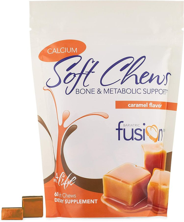 Bariatric Fusion 500mg Calcium Citrate & Energy Soft Chew Caramel Flavor for Bariatric Surgery Patients Including Gastric Bypass and Sleeve Gastrectomy, 60 Count, Sugar Free, Made in The USA