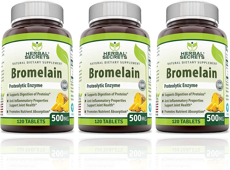 Herbal Secrets Bromelain 500 Mg 360 Tablets (Non-GMO)- Proteolytic Enzyme* Anti-Inflammatory Properties* Support Joint Health* Promotes Nutrient Absorption*