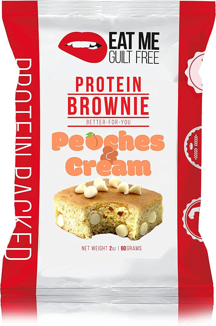 Eat Me Guilt Free Protein Blondie Brownie - Peaches and Cream (12 Pack) Low Carb Snack or Dessert, 14g Protein