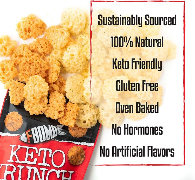 Fbomb Cheese Crisps: Healthy Low Carb Snacks, High Protein Crisps, 100% Natural Keto Snacks   Oven Baked, Premium Artisan Cheese, Gluten Free, Sugar Free   Cheddar, Buffalo, Tangy Sharp Cheddar Variety 6 Pack