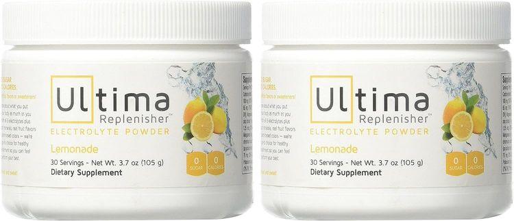 Ultima Replenisher Electrolyte Powder 30 Serving Canister, Lemonade, 3.7 Ounce (2-Pack)