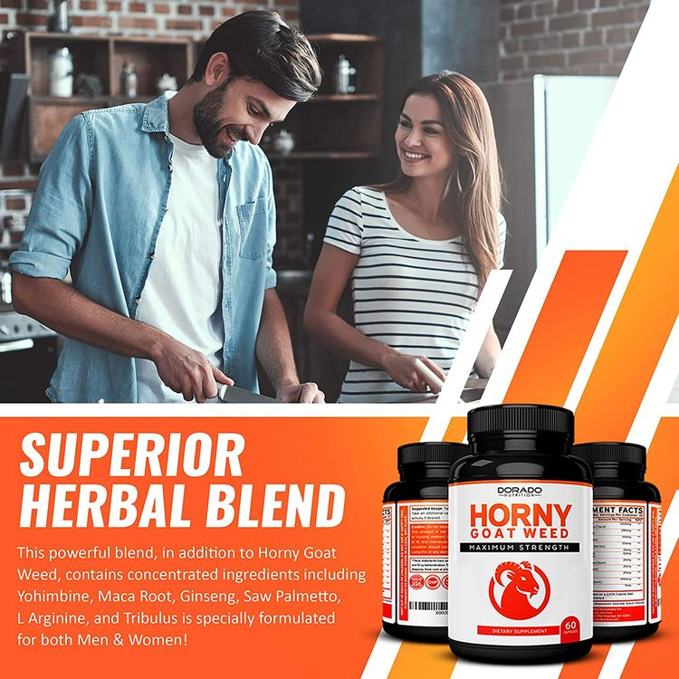 Horny Goat Weed for Men and Women - [1590mg Maximum Strength] - Maca Root, Ginseng, Yohimbine, Saw Palmetto, Muira Puama, Tribulus, L-Arginine - USA Made - Joint & Back Support - 60 Count