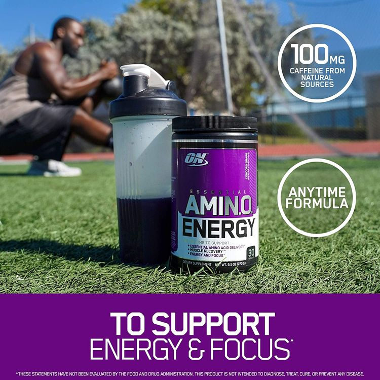 Optimum Nutrition Amino Energy - Pre Workout with Green Tea, BCAA, Amino Acids, Keto Friendly, Green Coffee Extract, Energy Powder - Concord Grape, 30 Servings