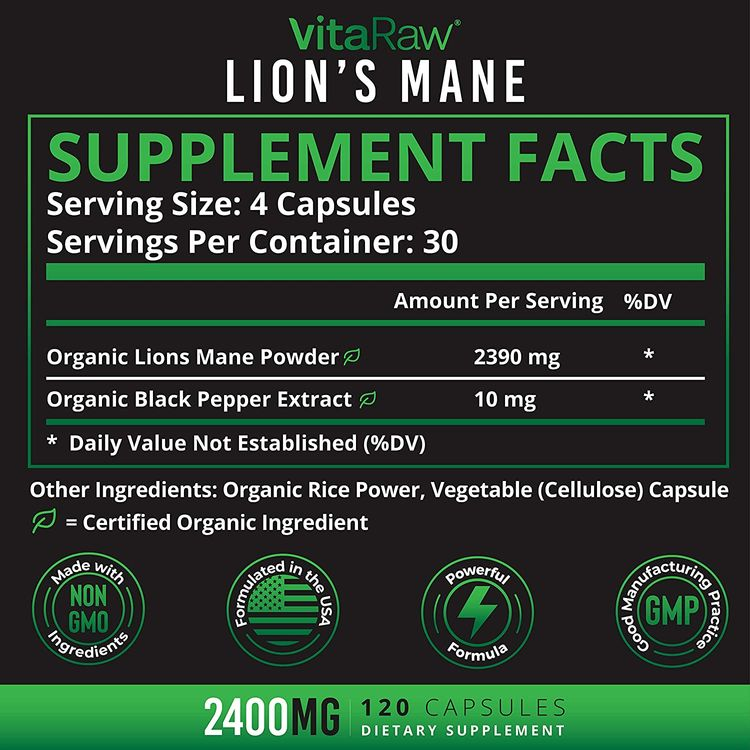 Organic Lions Mane Mushroom Capsules (2400mg   Powerful Nootropic ) Brain Mushroom Supplement for Focus & Immune Support Pure Lion's Mane Mushroom Powder Extract - Brain Booster Memory & Energy Pills