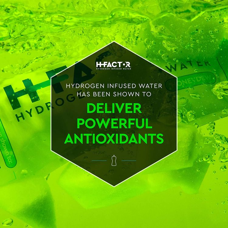 H Factor Flavored Hydrogen Water - Pure Infused Drinking Water for Natural Pre Or Post Workout Recovery, Molecular Hydrogen Supports Athletic Performance, Delivers Antioxidants (Honeydew, 12 Count)…