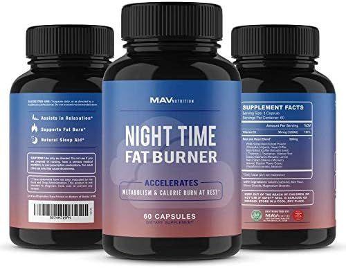 MAV Nutrition Weight Loss Pills Night Time Fat Burner for Women & Men | Sleep Aid Diet Pills, Appetite Suppressant, Metabolism Boost, Carb Blocker; 60 Count