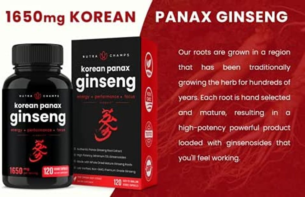 NutraChamps Korean Red Panax Ginseng 1000mg - 120 Vegan Capsules Extra Strength Root Extract Powder Supplement w/ High Ginsenosides for Energy, Performance & Focus Pills for Men & Women