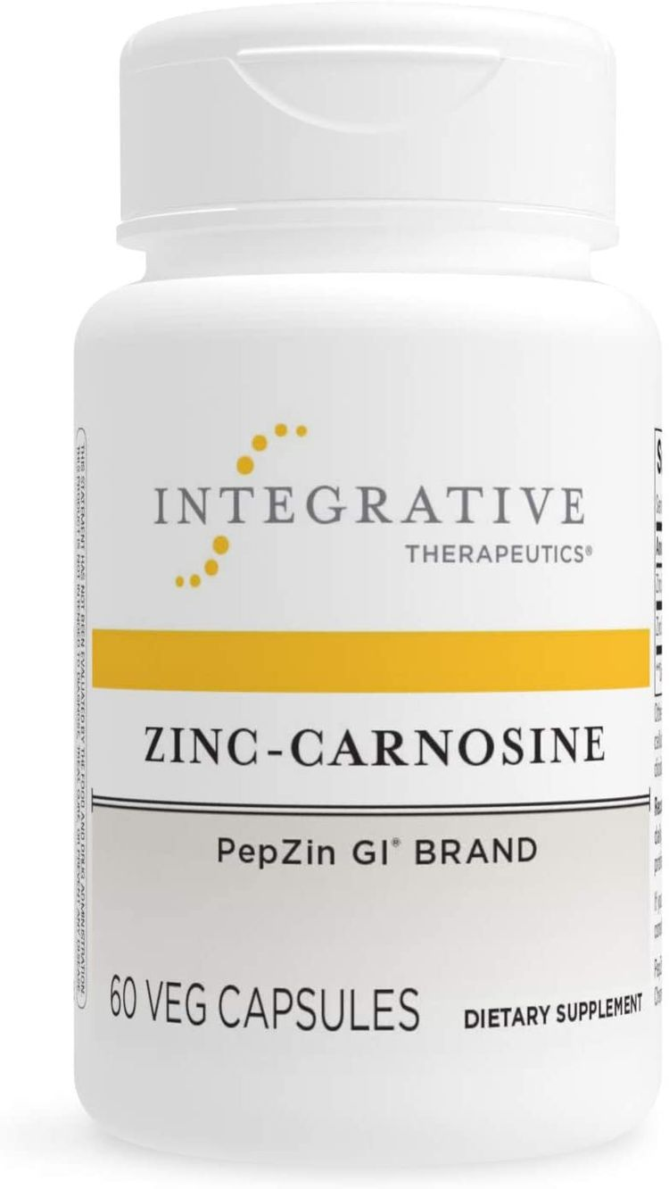 Integrative Therapeutics Zinc-Carnosine - PepZin GI Brand Supplement with Zinc and L-carnosine - Gut Health and GI Tract Support - Gluten-Free and Vegan - 60 Capsules