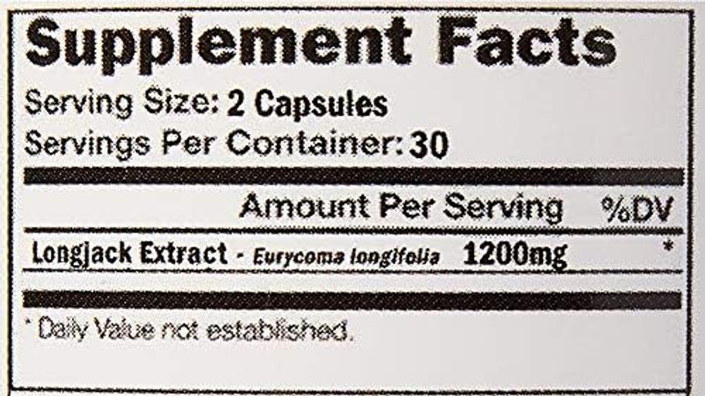 VH Nutrition   Longjack   1200mg Tongkat Ali Supplement   200:1 Eurycoma longifolia Extract   30 Day Supply