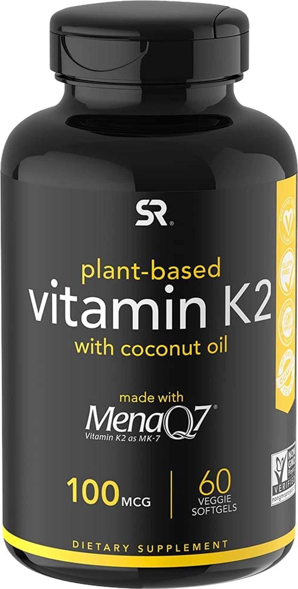 Vitamin K2 (as MK7) with Organic Coconut Oil   Made with MenaQ7 from Fermented Chickpea   Non-GMO Verified, Vegan Certified (60 Veggie-Softgels)