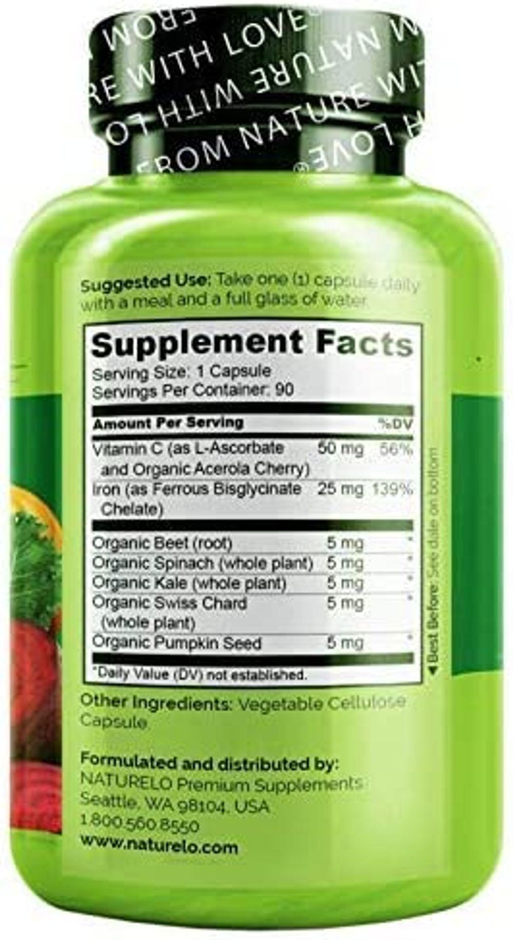 NATURELO Vegan Iron Supplement with Vitamin C and Organic Whole Foods - Gentle Iron Pills for Women & Men w/ Iron Deficiency Including Pregnancy, Anemia and Vegan Diets - 90 Mini Capsules