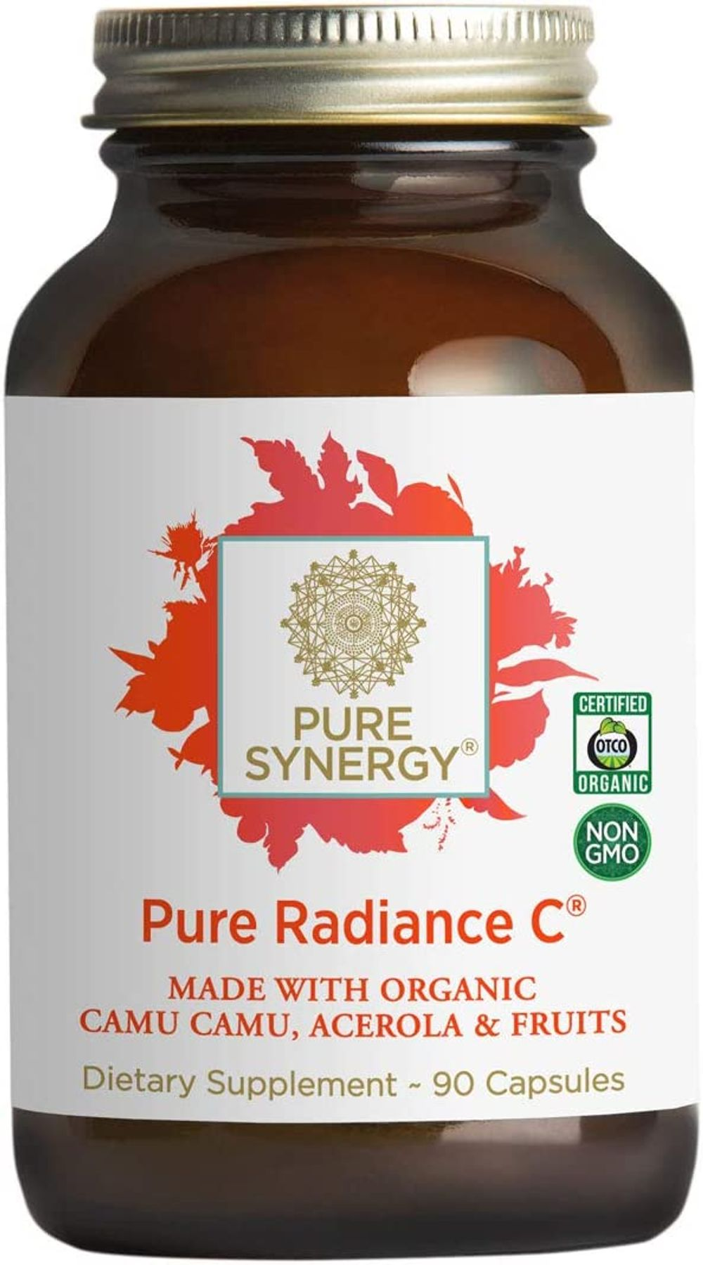Pure Synergy Pure Radiance C   90 Capsules   Made with Organic Ingredients   Non-GMO   Vegan   100% Natural Vitamin C with Organic Camu Camu Extract