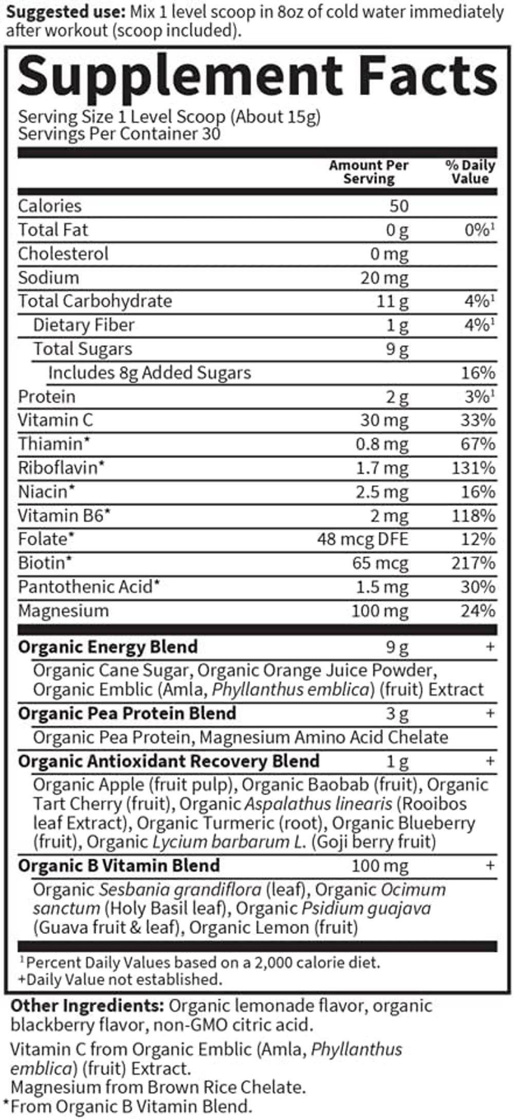 Garden of Life Sport Vegan Organic Plant Based Post Workout Muscle Recovery Powder for Men & Women - BlackBerry Lemonade 30 Servings, 100mg Magnesium, Antioxidants, Supplements, 15.7 Oz