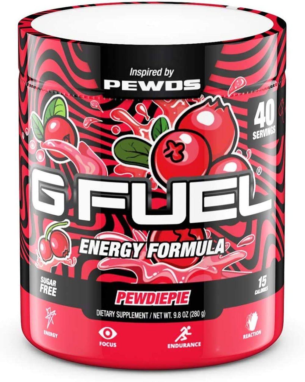 G Fuel PewDiePie Lingonberry Elite Energy Powder Inspired by Pewds, 9.8 oz (40 Servings)