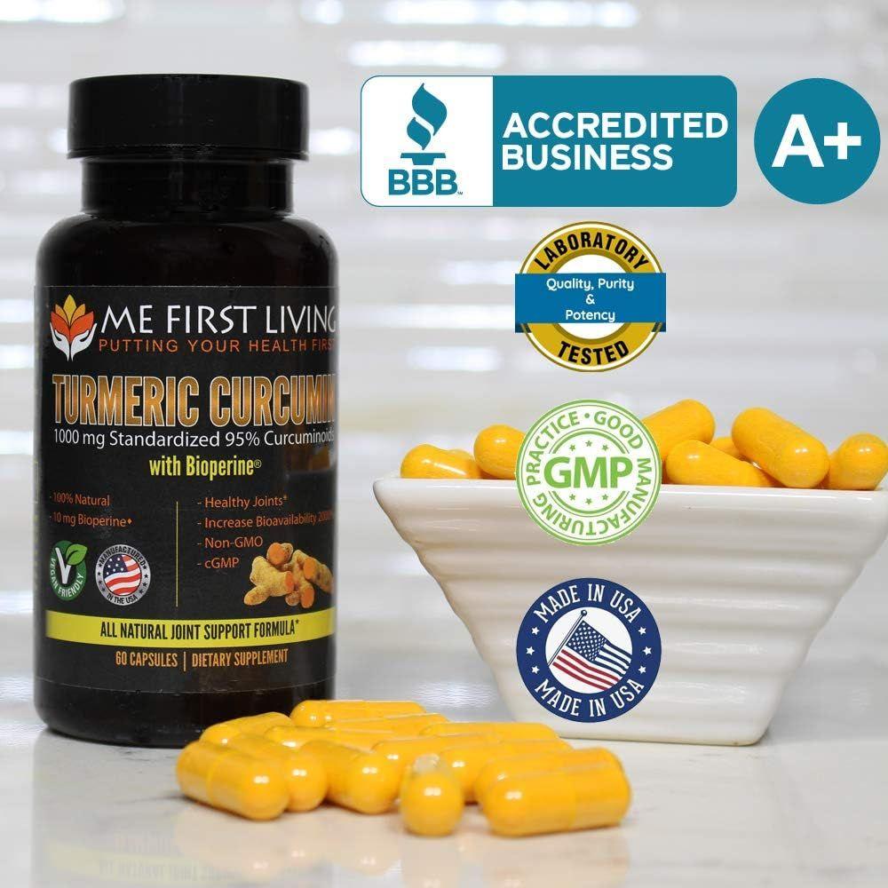 Me First Living Turmeric Curcumin 1000 mg 95% Curcuminoids, Bioperine 10 mg, 19x More Potent Than Others, Increased Absorption, Non-GMO, Organic Turmeric, Vegan, Gluten Free, 60 Capsules