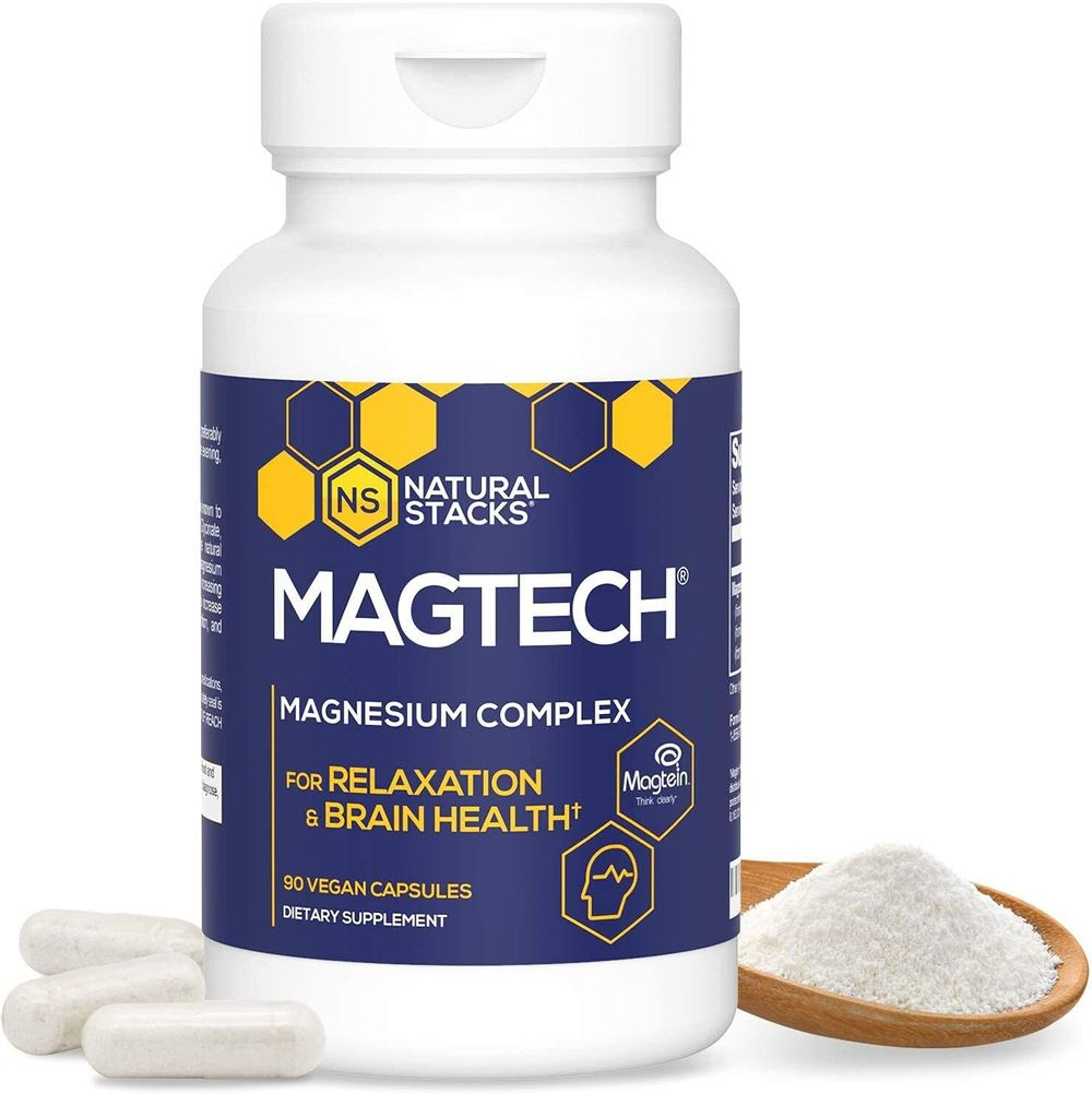 Natural Stacks MagTech Magnesium Supplement - Triple Blended 100% Chelated Magnesium Complex - L-Threonate (Magtein) for Memory & Focus - Glycinate for Sleep & Relaxation - Taurate for Muscle Cramps & Recovery, 90caps