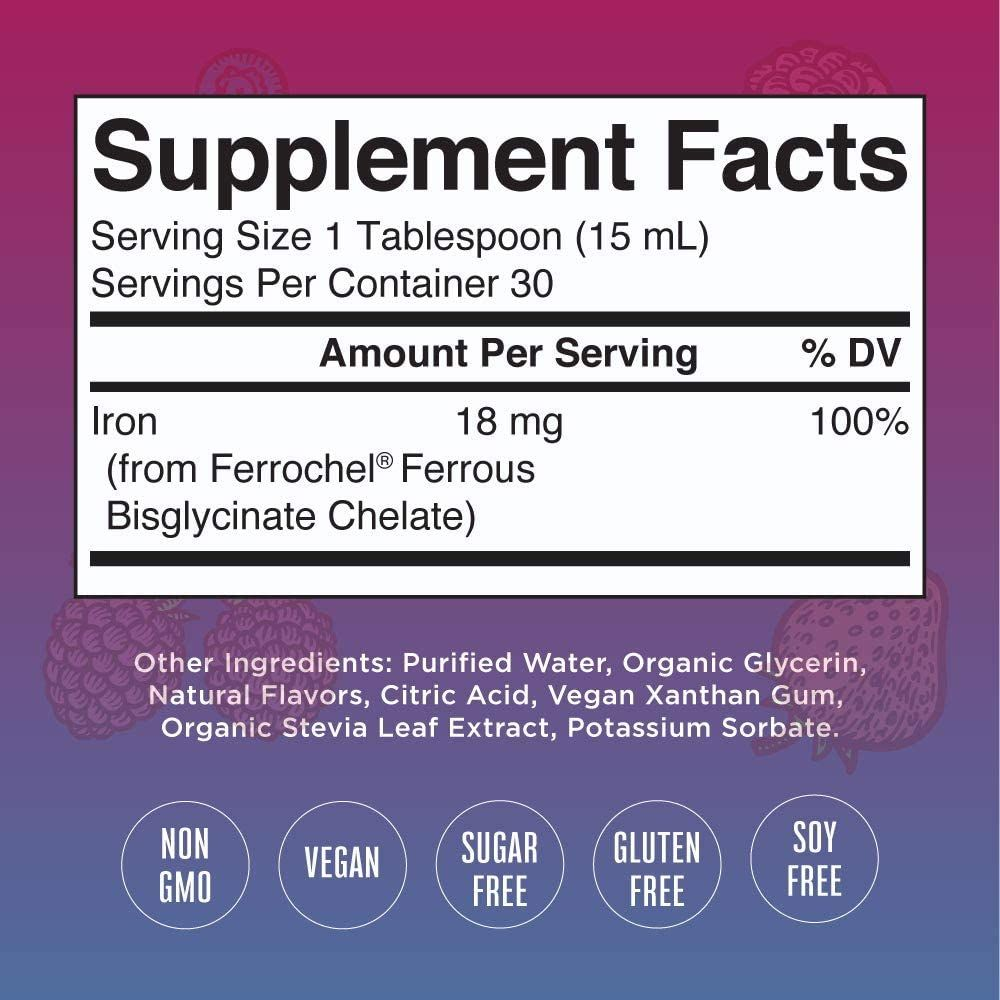 Liquid Iron Vitamin by MaryRuth's, Vegan, Non-GMO, Gluten Free for Adults & Kids, Berry Flavored, 15.22 Fl Oz