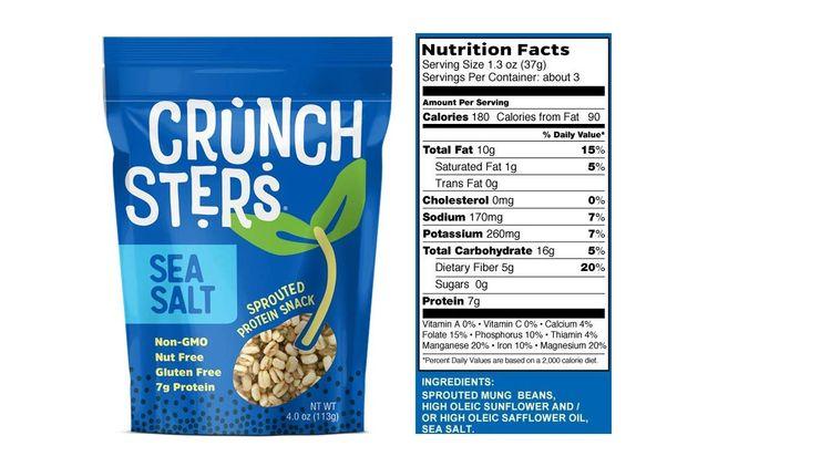 Crunchsters Snack, 4oz. Bags, Sea Salt, 1-Pack