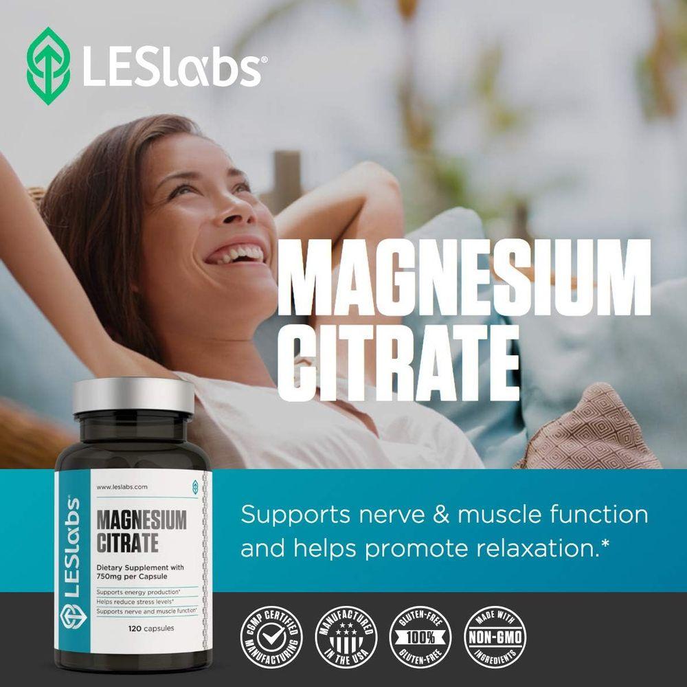 LES Labs Magnesium Citrate, Non-GMO Supplement, 750mg, 120 Capsules