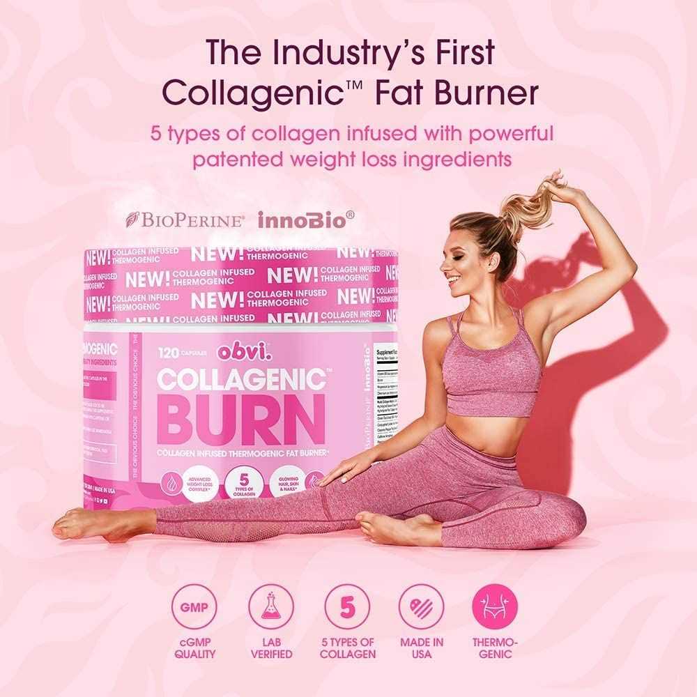 Obvi Fat Burner, Thermogenic, Appetite Suppressant and Weight Loss Support, Collagen, Benefits Hair, Skin, Nails, Joints (30 Servings)